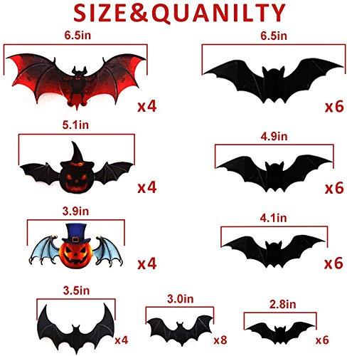 Halloween Batman Art (Audoyon 3D Bats Wall Stickers, 48Pcs Decal Art Decor for Haunted House & Carnival Vampire & Batman)