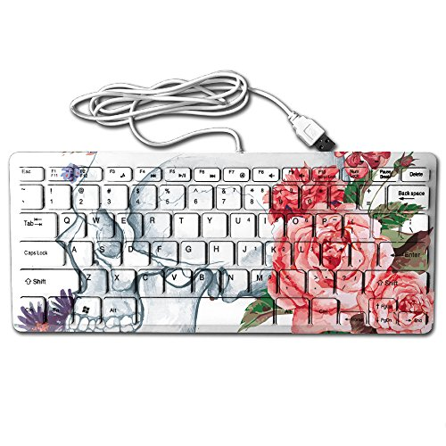 ZHONGRANINC Compact Full Keyboard Vintage Skull With Roses Sugar Skull Ultra-Thin Cool Design Keyboard Computer (Candy Rapper Costume)