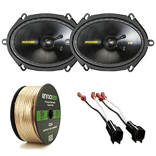 "Car Speaker Package Of 2x Kicker 40CSS684 6x8"" Inch 550-Watt CS-Series Black 2-Way Car Component Speakers Bundle Combo With 4x Speaker Connectors for Select GM Vehicles + Enrock 50-Ft 14G Speaker Wire"