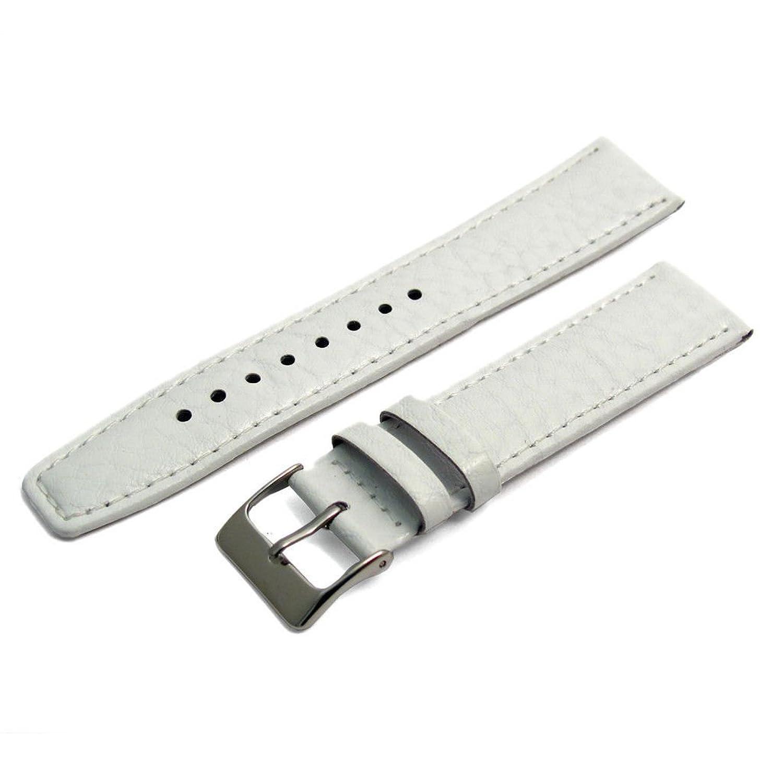 ホワイトパッド入りBuffalo Grainレザー時計ストラップバンド18 mmコントラストステッチ  B01IBMYVE4