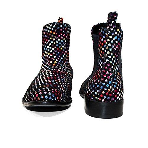 Modello Discose - Handmade Italiano da Uomo in Pelle Colorato Stivali di Chelsea - Vacchetta Pelle Morbido - Scivolare su
