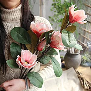 Remiel Store Artificial Fake Magnolia Bridal Bouquet Wedding Party Home Decor 17