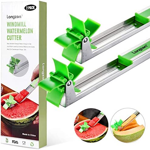 [2 Pack] Longzon Watermelon Windmill Cutter Slicer – Stainless Steel Windmill Watermelon Knife Tongs, Fruit Kitchen Gadget for Melon Cutter And Cantaloupe Scooper, Windmill Shape Tool for Fruit Salad