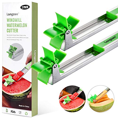 [2 Pack] Longzon Watermelon Windmill Cutter Slicer - Stainless Steel Windmill Watermelon Knife Tongs