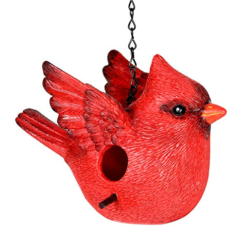 Exhart Red Cardinal Hanging Bird House - Handcrafted Northern Cardinal Resin Mini House with a Link Chain - Hanging Birdhouse Décor - Cute Red Cardinal Décor for Porch, Trees, Patio -