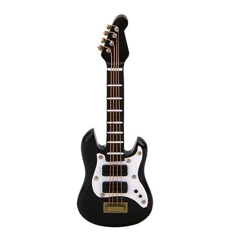 01:12 Casa de Muñecas Miniatura Música de Instrumentos Guitarra Eléctrica Juguete Negro