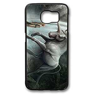 Brian114 Samsung Galaxy S6 Case, S6 Case - Perfect Fit Black Hard Back Case Cover for Samsung Galaxy S6 Wild Unicorn With Beauty Edge Case Impact Protection for Samsung Galaxy S6