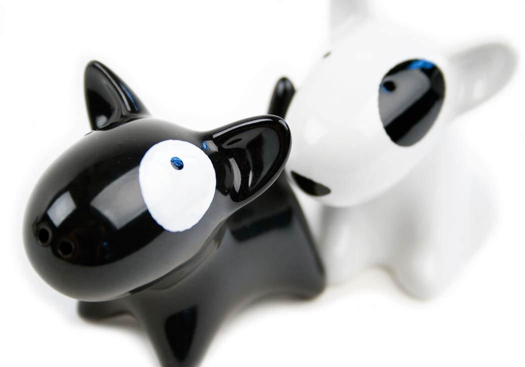 Bull Terrier Small Black And White Handmade Ceramic Cruet Set (10cm x 8cm) Life Arts