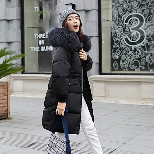 Largo Gris Parka Mujer Medium Acolchado Abrigo Tamaño Outwear Capucha Abajo color Algodón Con Chaqueta Informal Invierno Negro pnFpqOwIx