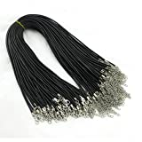 24'' Black Braided Leather Cord Rope Necklace Chain with Lobster Claw Clasp 2.0mm 20Pcs