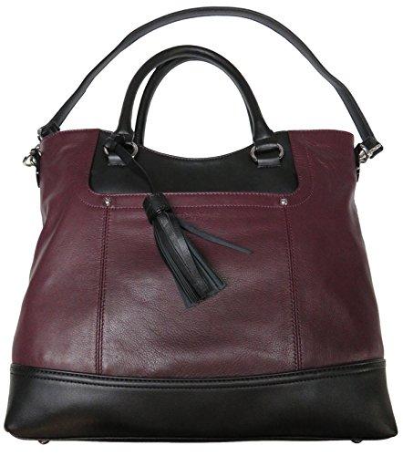 Tignanello Women's Genuine Leather Smooth Operator Shopper, Chianti/Black by Tignanello