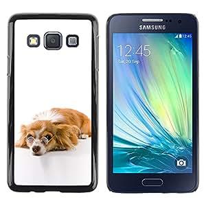 Exotic-Star ( Funny Glasses Dog Cute ) Fundas Cover Cubre Hard Case Cover para Samsung Galaxy A3 / SM-A300