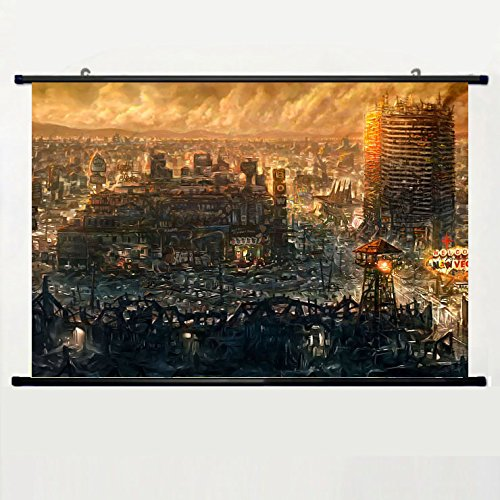 DAKE Home Decor DIY Art Posters with Fallout New Vegas Wall Scroll Poster Fabric Painting 24 X 16 Inch (60cm X 40 cm) -