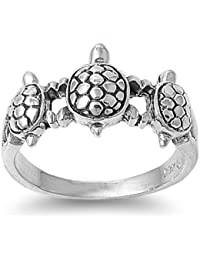Sterling Silver 10mm Turtles Ring (Size 5 - 10)