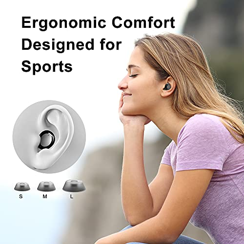 Wireless Headphones, Wireless Earbuds Bluetooth Headphones with Mic, 2600mAh 70H Playtime, HI-FI Stereo In Ear Headphones with LED Torch, IP7 Waterproof Sport Wireless Earphones for iOS Android, Black