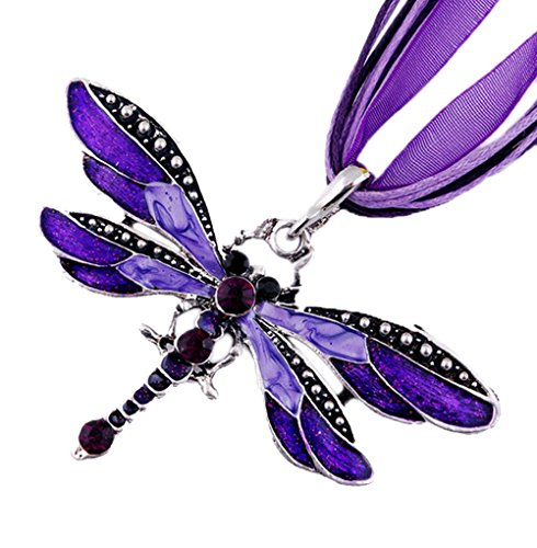 Tone Butterfly Charm - Grenf Fashion Retro Rhinestone Inlay Gem tone Necklace Dragonfly Charms Necklace Pendant 6 colors (Purple)