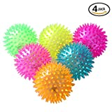 4pcs/lot Spike Ball Light Up Balls Toys for Kids and Babies,Bright Color LED Flashing Bounce Ball Massage Sensory Spikey Ball for Children Boys Girls (7.5cm)