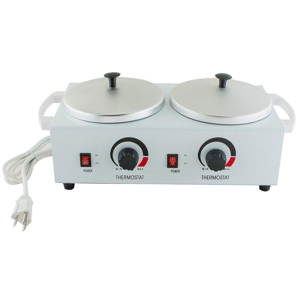 Genmine Double Wax Warmer Professional Electric Heater Double Pot Wax Machine Waxing Warmer Salon Hot Paraffin Electric Wax Heater Dual Hard Hot Facial Skin Equipment SPA 110V