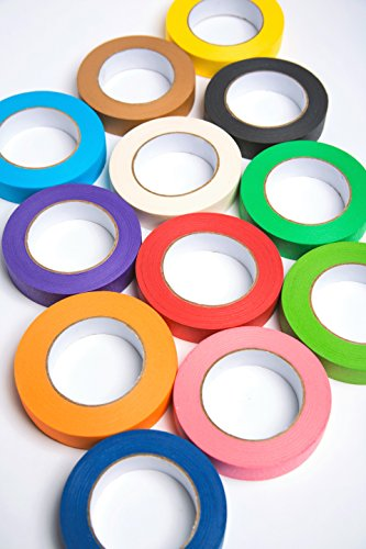 12 Rolls of Colored Masking Tape, 1 in x 60 yds; Great for DIY Label Making, Arts & Crafts, Home & Office. Includes Blue, Black, Yellow, Purple, White and Many More. Vibrant Colors by Big Fudge