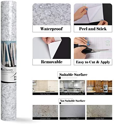 """LaCheery Granite Contact Paper for Countertops Waterproof Countertop Contact Paper Decorative Wall Paper Roll Peel and Stick Wallpaper for Kitchen Bathroom Furniture Vinyl Countertop Paper 15.8""""x160"""""""