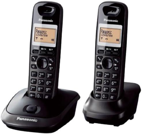 Panasonic KX-TG2512FXT - Kit de 2 teléfonos fijos digitales inalámbricos (DECT, auricular, LCD, AAA, escritorio), negro [versión importada]: Amazon.es: Electrónica