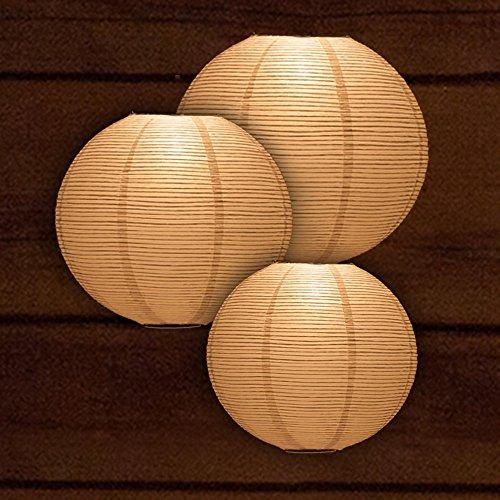 Quasimoon Flp-WH-cm Fine Line Even Ribbing Paper Lantern, 12/14/16', White, 3 Piece