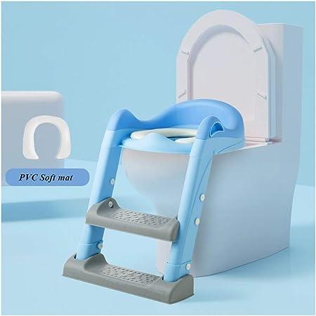 KONGY Aseo Escalera de Inodoros, Ergonomía Antideslizante Asistente De Entrenamiento para IR Al Baño con Suave Tapa del Inodoro Ajustable Plegable Escabel para Niño Unisex (Color : Azul): Amazon.es: Hogar