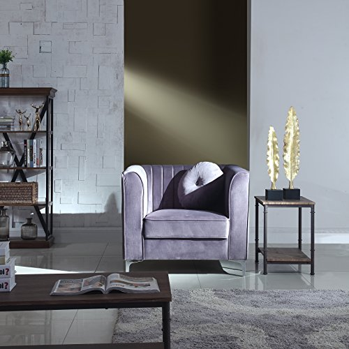 nal Living Room Marilyn Velvet Armchair, Club Chair with Tufted Accent Pillows (Grey) ()
