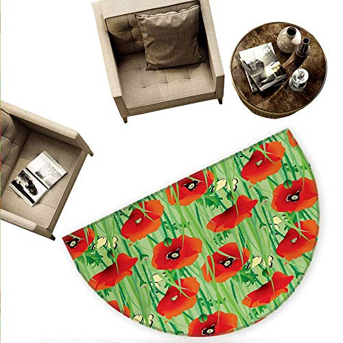- Spring Semicircular Cushion Scarlet Poppy Flowers Field with Butterflies Inspirational Wild Herbs Design Entry Door Mat H 74.8