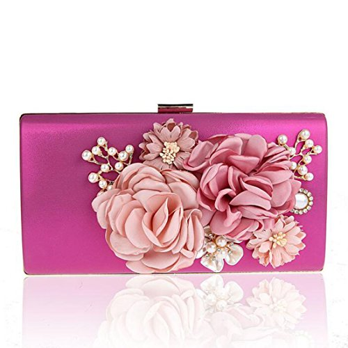 EPLAZA Women Large Capacity Flora Evening Party Bags Clutch Purse Vintage Wedding Handbags Wallet (rose red) Belle Rose Purse