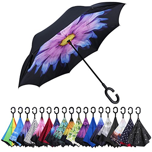 G4Free Double Layer Inverted Umbrella Cars Reverse Umbrellas, Windproof UV Protection Large Straight Umbrella for Car Rain Outdoor With C-Shaped Handle (Purple (Handle Umbrella)