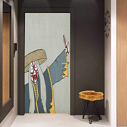 Door Sticker Kabuki Mask Old Japanese Person Performing Arts in The Far Eastern Culture Design Elements Glass Film for Home Office W23 x H70 Multicolor