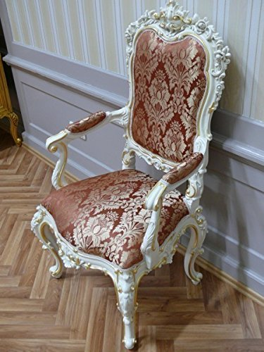 Barock Armlehner Stuhl Antik Stil Rokoko Vp9968/01B/Stoffnr.3891
