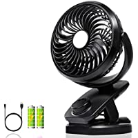 Portable USB Clip on Fan, Adjustable Speeds, Rechargeable Battery Operated 360° Rotation, Portable Table USB Fan, Strong Wind Useful Baby Strollers, Office Table, Travel, car, Outdoors