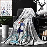 Unique Custom Double Sides Print Flannel Blankets Paris Woman Riding A Bicycle In Paris With A Cat European French Style Illustration Bl Super Soft Blanketry for Bed Couch, Twin Size 60 x 70 Inches