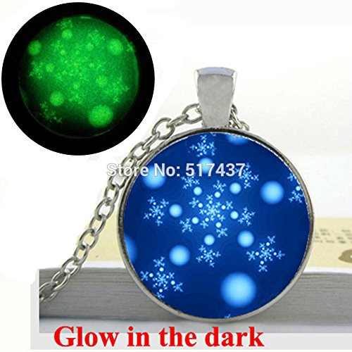 Pretty Lee Glow In The Dark Necklace Snowflake Pendant Deep Blue Aqua Snowflake Necklace Photo Glass Cabochon Necklace Glowing ()
