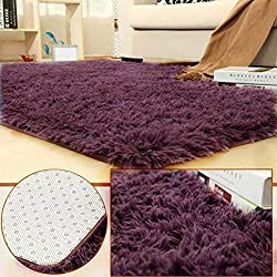 BlueSnail Super Ultra Soft Modern Shag Area Rugs, Bedroom Livingroom Sittingroom Floor Rug Carpet Blanket for Children Play Home Decorate (4' x 5.3', Rectangle, Grayish Purple)