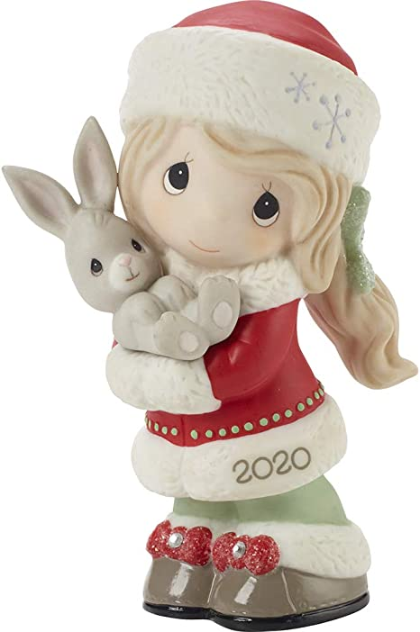 Amazon Com Precious Moments 201001 Every Bunny Loves A Christmas Hug 2020 Dated Girl Bisque Porcelain Figurine Multicolored Home Kitchen