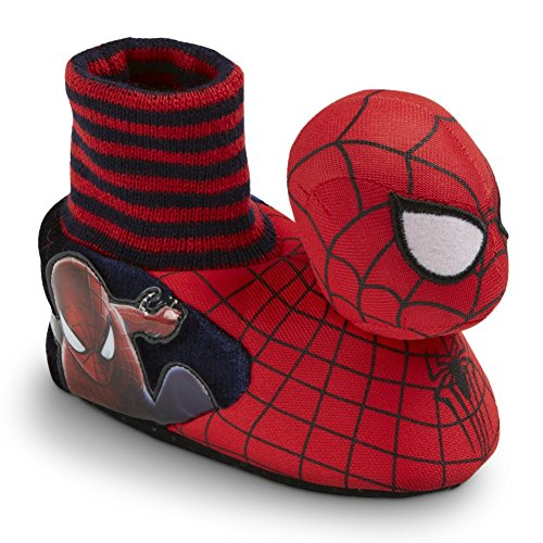 Marvel Toddler Boy's Spider-Man 2 Red/Navy Sock-Top Slippers