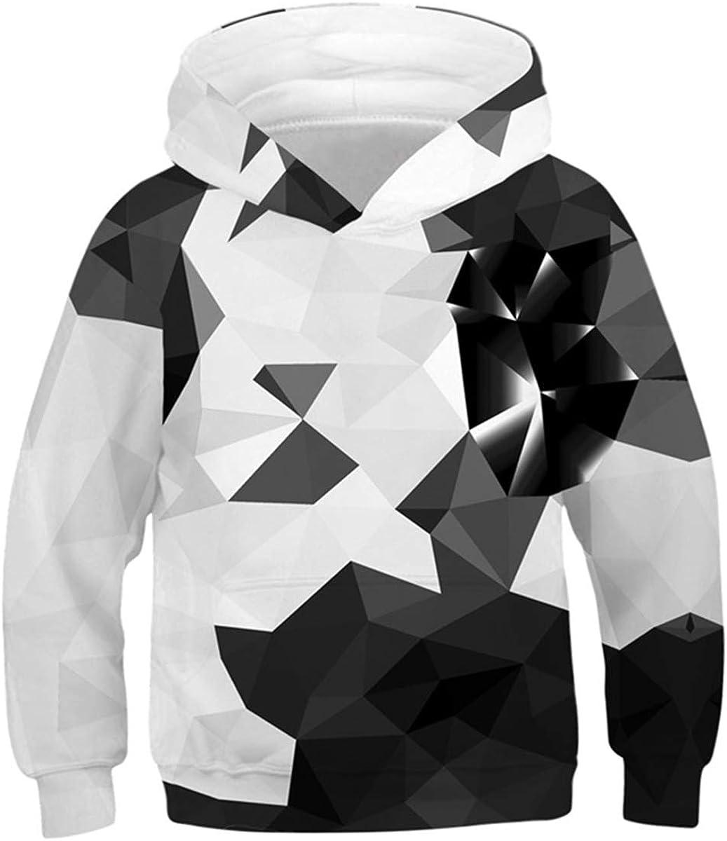 Lovekider Boys Girls Hoodies Sweatshirt Cool 3D Print Pullover with Big Pocket for Kids Fashion Warm Winter 6-16 Years: Clothing