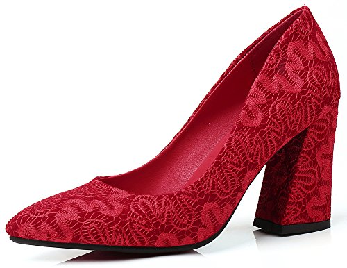 Pumps Red Bridal Pointed Womens High Elegant Heel Toe Shoes IDIFU Suede Faux Slip on Block 7ZCxPa