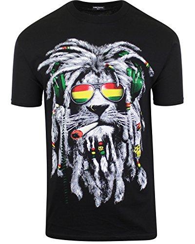 (Mens Marijuana Enthusiast Weed Shirts (Rasta Lion Joint,)