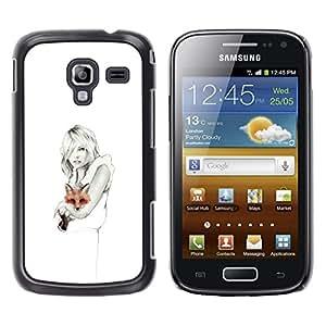 LECELL--Funda protectora / Cubierta / Piel For Samsung Galaxy Ace 2 I8160 Ace II X S7560M -- White Clean Pencil Art Lady Pretty --