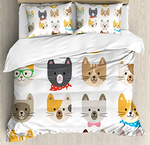 Ambesonne Kids Duvet Cover Set Queen Size, Cats Costume with Glasses Bow Tie Bandanna Cartoon Art Craft Pattern Print Pets Animal Lovers Print, Decorative 3 Piece Bedding Set with 2 Pillow Shams