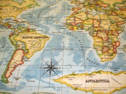 Mundo Atlas en color azul algodón mantel de hule (180 x 132 cm: Amazon.es: Hogar