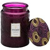 Voluspa Santiago Huckleberry Large Embossed Glass Jar Candle, 16 ounces