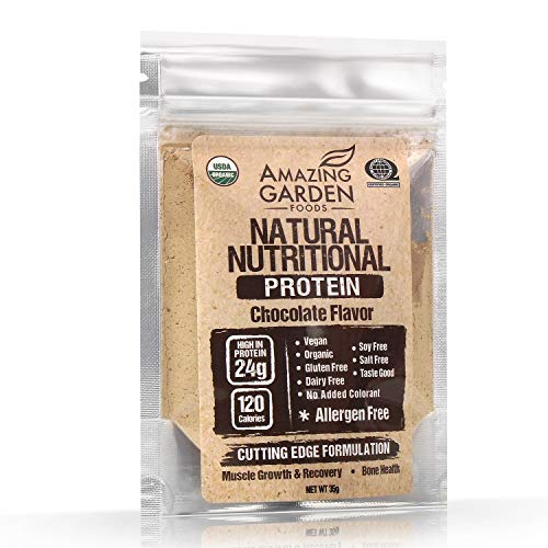 Organic Plant Based Vegan Protein Powder (Sample), Allergens Free, 9 Different Vegan Organic Protein for Muscle Growth, Low Carb High Protein, Gluten Free, Chocolate Flavor, 35g - Amazing Garden Foods