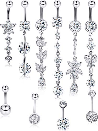 Blulu 10 Pieces 14 G Stainless Steel Belly Button Rings Shiny Flower Navel Rings Belly CZ Dangle Zirconia for Women, 10 Styles (Style Set - Belly Ring Dangle Flower