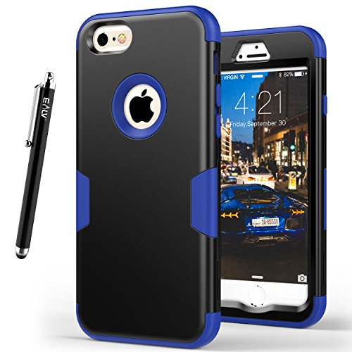Full Body Protection - E LV Designed iPhone 6S Case Shock Absorption/HIGH Impact Resistant Full Body Hybrid Armor Protection Defender Case Cover for Apple iPhone 6S / 6 [Black/Dark Blue]