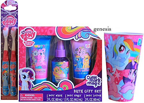 My Little Pony Children's Bath Gift Set With My Little Pony Toothbrushes & Spit Cup